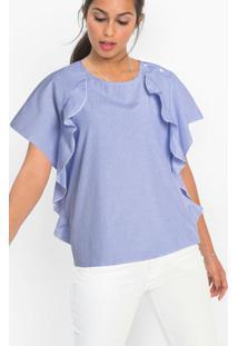Blusa Com Babados Listrada Azul