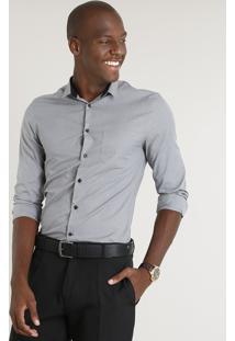 Camisa Masculina Slim Com Bolso Manga Longa Cinza