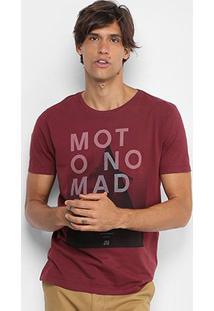 Camiseta Jab Tinturada Estampada Masculina - Masculino-Bordô