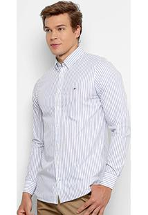 Camisa Tommy Hilfiger Listras Regular Fit Masculina - Masculino