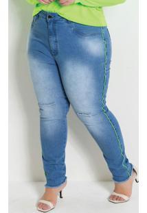 Calça Jeans Plus Size Destroyed Com Efeito Neon