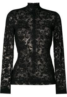 Dolce & Gabbana Blusa De Renda Floral - Preto