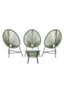 Cadeiras De Área E Mesa Acapulco Bahamas Verde Musgo Corda Sintetica (3 Unidades)