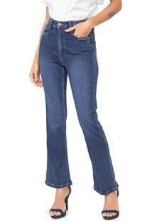 Calça Jeans Carmim Cropped Flare Ucrania Azul