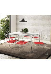 Mesa 1526 Branca Cromada Com 6 Cadeiras 1712 Vermelho Carraro