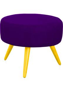 Puff Lymdecor Decorativo Angel Pés Palito Suede 50X25X50 Roxo