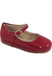 Sapato Boneca Em Couro Com Fivela - Vermelho & Marromtoke