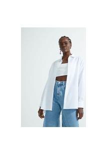 Camisa Ampla Em Tricoline Com Amarração Nas Laterais | Blue Steel | Branco | M