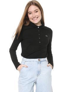 Camisa Polo Lacoste Slim Preta