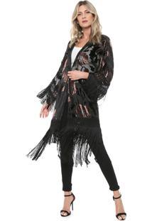 254ae04f9787 Kimono Fashion Franja Preto feminino | Shoelover