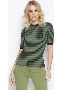 Blusa Listrada Com Tag Da Marca - Verde & Laranja - Colcci