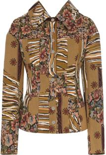 Mugler Floral Tapestry Shirt Jacket - Marrom