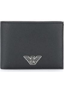 Emporio Armani Carteira Dobrável Com Logo - Preto