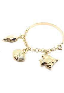 Pulseira Bracelete Infantil Mar Di Capri Semi Jóias X Ouro Dourado