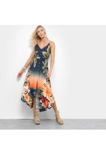 463cef1d5 R$ 399,99. Zattini Vestido Running Longo Azul Farm Floral ...