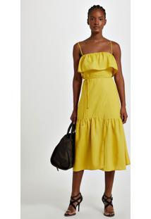 Vestido De Viscose Midi Linho Amarelo Transpasse Amarelo Yoko - 36