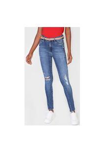 Calça Jeans Dudalina Skinny Destroyed Azul