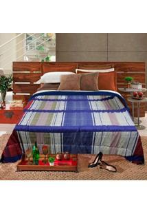Edredom Casal Slim Hedrons Plush Soft Xadrez Azul E Vermelho