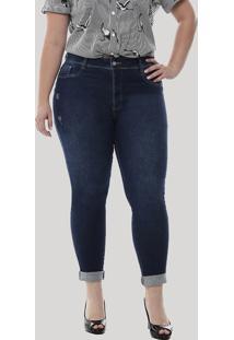 1a874ff98 ... Calça Jeans Feminina Sawary Cropped Plus Size Azul Escuro
