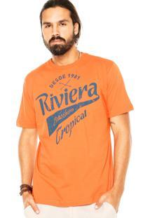 Camiseta Tropical Brasil Estampada Laranja