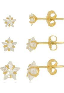 Trio De Brincos Estrela De Cristal Di Capri Semi Jóias X Ouro Dourado