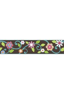 Adesivos De Parede Roommates Colorido Scroll Floral Peel & Stick Border - Brown E Teal - Branco - Dafiti