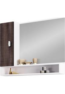 Espelheira Em Mdf Banheiro 1 Porta Orquídea 80Cm Branco E Dakota