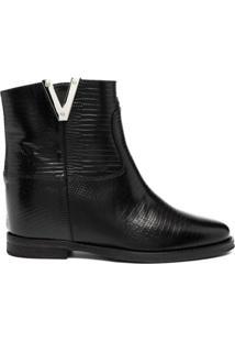 Via Roma 15 Ankle Boot Com Efeito De Pele De Cobra - Preto