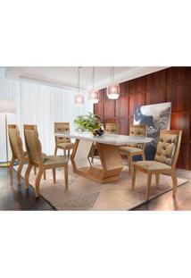 Conjunto De Mesa De Jantar Alvorada Com 6 Cadeiras Tamara Suede Chocolate Com Imbuia E Off White