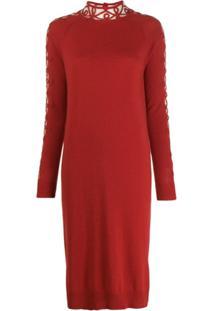 Fendi Vestido Mangas Longas - Vermelho