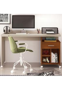 Mesa Para Computador 1 Gaveta Slim Rodízio Off White Freijó - Germai