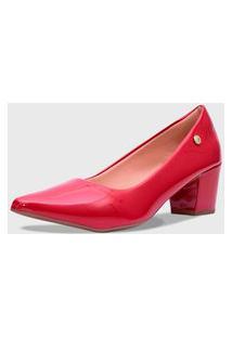 Sapato Feminino Scarpin Verniz Salto Baixo Af2.01 F Vermelho