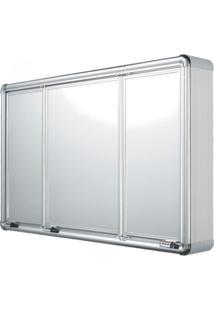 Espelheira Para Banheiro 3 Portas Em Alumínio 73Cmx45Cm Plus Astra Alumínio