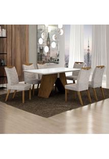 Conjunto De Mesa De Jantar Iii Com 6 Cadeiras Verona Suede Branco E Cinza