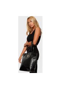 Bolsa Shopper Couro Mariart 5220Mrt Preta