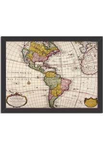 Quadro Decorativo Mapa Mundi America Do Norte E America Do Sul Preto - Médio