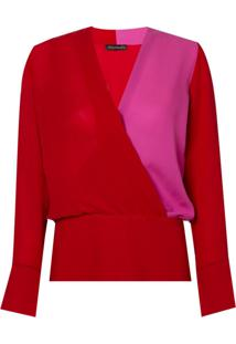 Blusa Le Lis Blanc Transpasse Donata Seda Vermelho Feminina (Paprica/Super Pink, 34)