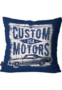 Capa De Almofada Pump Up Decorativa Avulsa Azul Custom Motors 45X45Cm