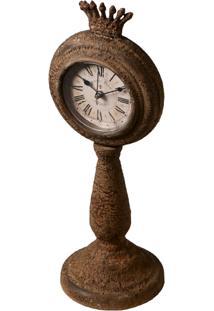 Relógio De Mesa Decorativo Royal De Metal Envelhecido