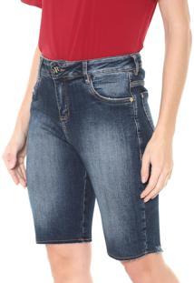 Bermuda Jeans Morena Rosa Ajustada Estonada Azul