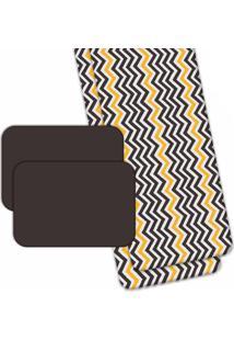 Jogo Americano Love Decor Wevans Com Caminho De Mesa Abstrato Stripes Preto/Amarelo - Kanui