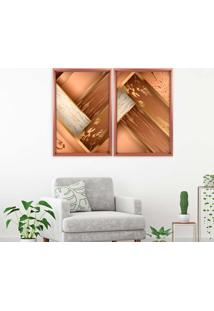Quadro Love Decor Com Moldura Chanfrada Wood Rose Metalizado - Médio