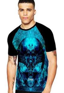 Camiseta Stompy Raglan Modelo 11 Masculina - Masculino-Preto