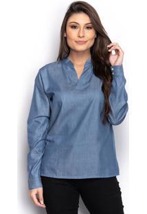 Camisa Camisete Bata Jeans Feminina Lisa Manga Longa Casual - Azul - Feminino - Dafiti