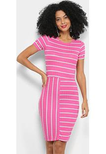 Vestido Tubinho Lecimar Canelado Manga Curta Listrado - Feminino-Pink