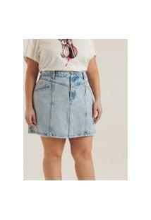 Saia Jeans Com Pérolas E Broche De Strass Curve & Plus Size | Ashua Curve E Plus Size | Azul | 50