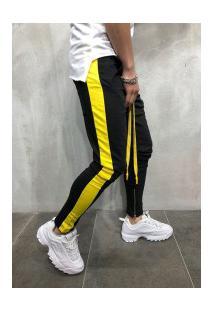 Calça Masculina Striped Slim Duas Cores - Preto E Amarelo