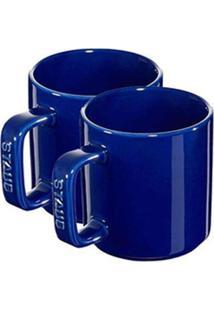 Canecas Espresso Duplo Cerâmica 2 Peças 200 Ml Azul Marinho Staub