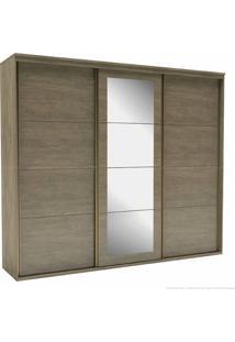 Guarda-Roupa 3 Portas De Correr 6 Gavetas Eleganza 100% Mdf 230 X 267 X 60 Com Espelho Ébano - Belmax Móveis