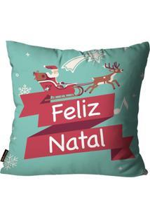 Capa Para Almofada Mdecore Natal Feliz Natal Verde 45X45Cm